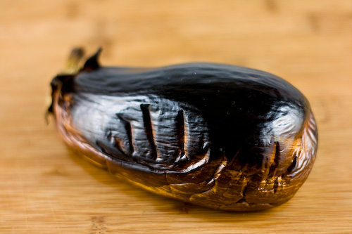 Grilled roasted whole eggplant